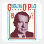 Campaña presidencial 1972 de Nixon Calcomanías Cuadradas Personalizadas