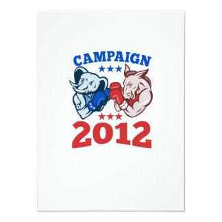 Campaña republicana 2012 del elefante del burro de invitación 13,9 x 19,0 cm