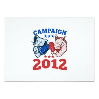 Campaña republicana 2012 del elefante del burro de invitación 12,7 x 17,8 cm