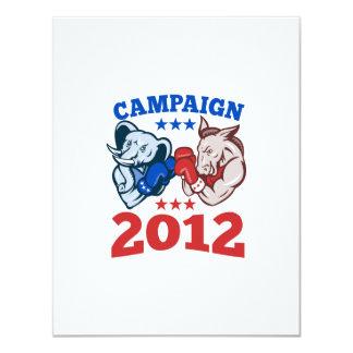 Campaña republicana 2012 del elefante del burro de invitación 10,8 x 13,9 cm
