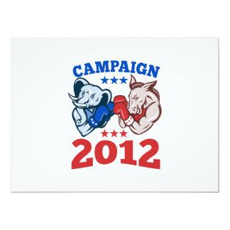 Campaña republicana 2012 del elefante del burro de invitación 16,5 x 22,2 cm