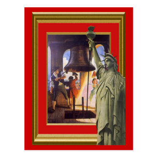 Campana y estatua de libertad postal