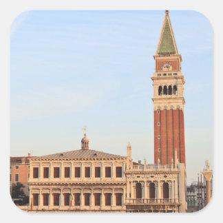 Campanario, plaza San Marco, Venecia Pegatina Cuadrada
