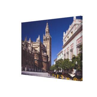Campanario y catedral, Madrid, España de Giralda Lienzo Envuelto Para Galerías