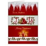 Campanas de navidad, acebo y velas de tarjeta del