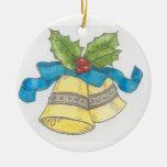 campanas de navidad adorno redondo de cerámica