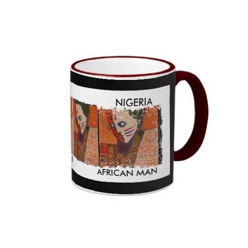 Campanero apenado de Border2-sided. hombre Nigeria Taza De Dos Colores