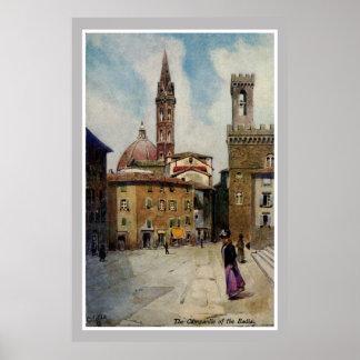Campanil de Florencia de la acuarela del vintage Posters
