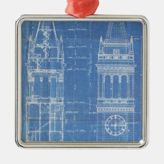 Campanile Blueprint Metal Ornament
