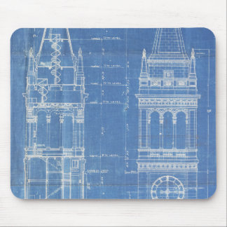 Campanile Blueprint Mouse Pad