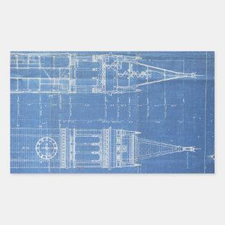 Campanile Blueprint Rectangular Sticker