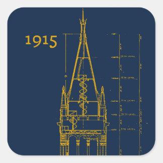 Campanile Interior Blueprint Square Sticker