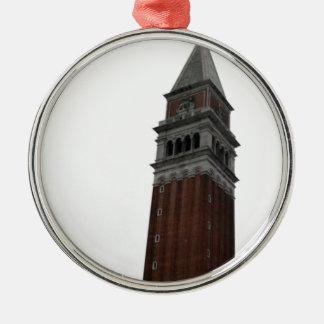 Campanile Piazza San Marco Silver-Colored Round Ornament
