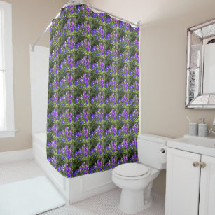 Campanula Cer Balloon Flowers Echo Print Shower Curtain