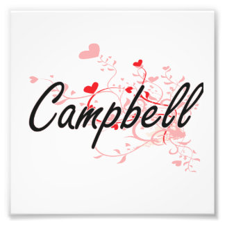 Campbell Artistic Name Design with Hearts Photo Print