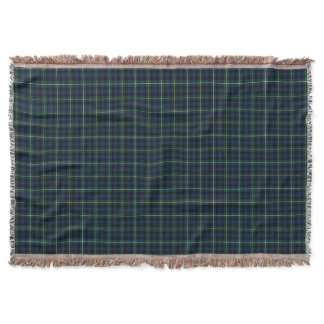 Campbell Clan Navy Blue and Green Tartan Throw Blanket