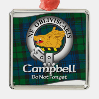 Campbell Clan Square Metal Christmas Ornament