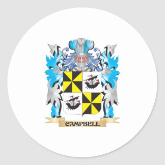 Campbell-- Coat of Arms - Family Crest Round Sticker