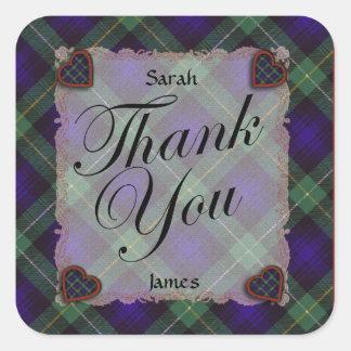 Campbell de la tela escocesa de tartán de Cawdor - Pegatina Cuadrada