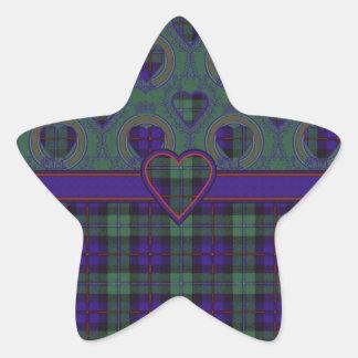 Campbell del tartán del escocés de la tela pegatina en forma de estrella