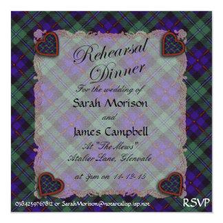 """Campbell del tartán escocés del clan de Cawdor - Invitación 5.25"""" X 5.25"""""""
