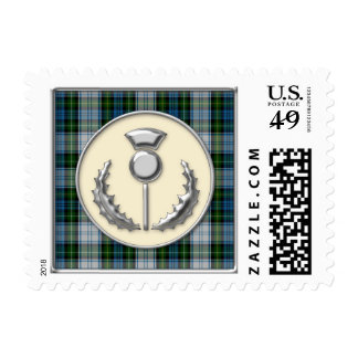 Campbell Dress Tartan with Silver Thistle Emblem Postage Stamp