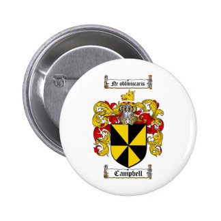 CAMPBELL FAMILY CREST -  CAMPBELL COAT OF ARMS 2 INCH ROUND BUTTON