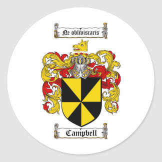 CAMPBELL FAMILY CREST -  CAMPBELL COAT OF ARMS CLASSIC ROUND STICKER