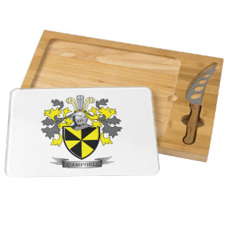 Campbell Family Crest Coat of Arms Cheese Board