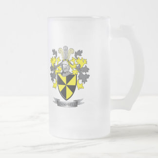 Campbell Family Crest Coat of Arms Frosted Glass Beer Mug
