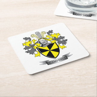 Campbell Family Crest Coat of Arms Square Paper Coaster