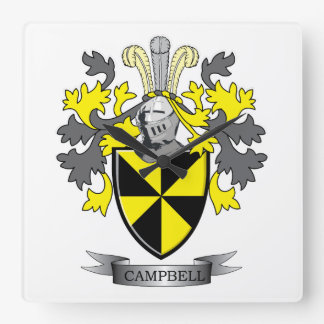 Campbell Family Crest Coat of Arms Square Wall Clock