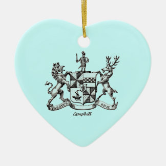 CAMPBELL FAMILY CREST Double-Sided HEART CERAMIC CHRISTMAS ORNAMENT