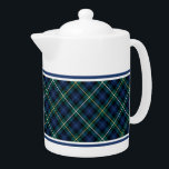"Campbell Family Tartan Navy Blue Plaid Teapot<br><div class=""desc"">Teapot with the Campbell family clan tartan pattern. Traditional vintage Scottish plaid from 1815 in dark blue,  green,  and black,  with yellow and white accents. Matching coffee mugs and teacups available.</div>"
