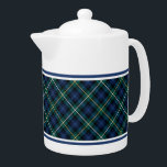 """Campbell Family Tartan Navy Blue Plaid Teapot<br><div class=""""desc"""">Teapot with the Campbell family clan tartan pattern. Traditional vintage Scottish plaid from 1815 in dark blue,  green,  and black,  with yellow and white accents. Matching coffee mugs and teacups available.</div>"""