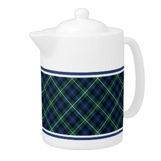 Campbell Family Tartan Navy Blue Plaid Teapot