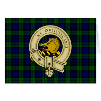 Campbell Family Tartan Plaid and Clan Crest Badge Greeting Card
