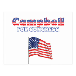 Campbell for Congress Patriotic American Flag Desi Postcard