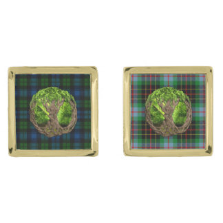 Campbell Military Tartan And Celtic Tree Of Life Gold Cufflinks