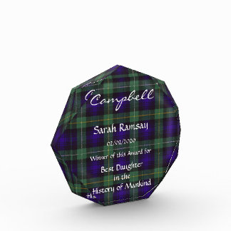 Campbell of Argyll Scottish Tartan Acrylic Award