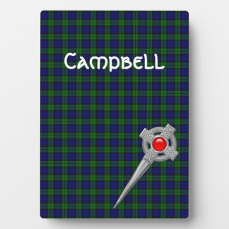 Campbell or Black Watch Tartan & Celtic Kilt Pin Plaque