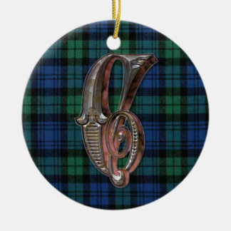 Campbell Plaid Monogram ornament