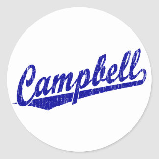 Campbell script logo in blue round stickers