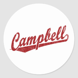 Campbell script logo in red round stickers