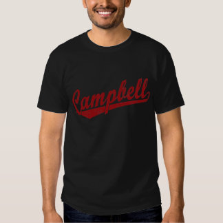 Campbell script logo in red tee shirt