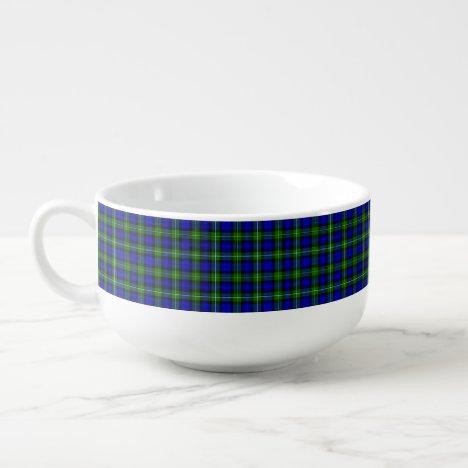 Campbell tartan blue green plaid soup mug