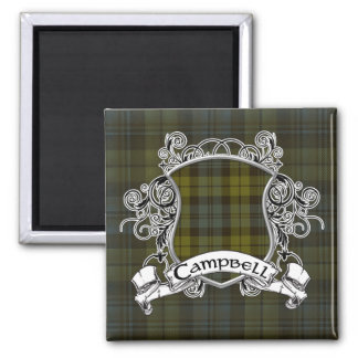 Campbell Tartan Shield 2 Inch Square Magnet