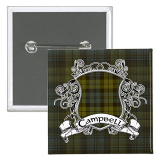 Campbell Tartan Shield 2 Inch Square Button