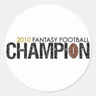campeón 2010 del fútbol de la fantasía pegatina redonda