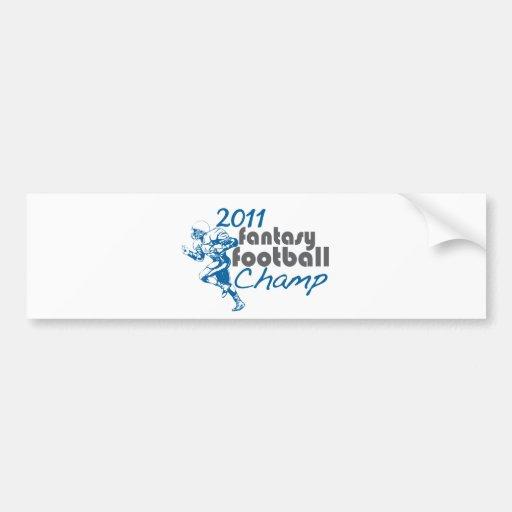 Campeón 2011 del fútbol de la fantasía pegatina de parachoque